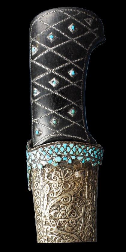 Persian Bukhara Turquoise Inlaid Pesh Kabz Dagger